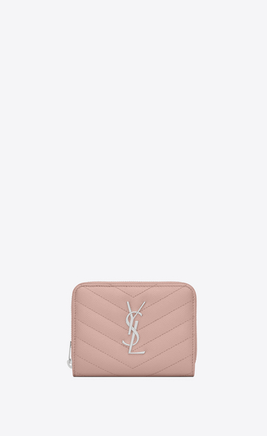 SAINT LAURENT Monogram Matelassé Woman compact zip around wallet in pale blush textured matelassé leather a_V4