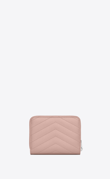 SAINT LAURENT Monogram Matelassé D monogram Compact Zip Around Wallet in Pale Blush Grain de Poudre Textured Matelassé Leather b_V4