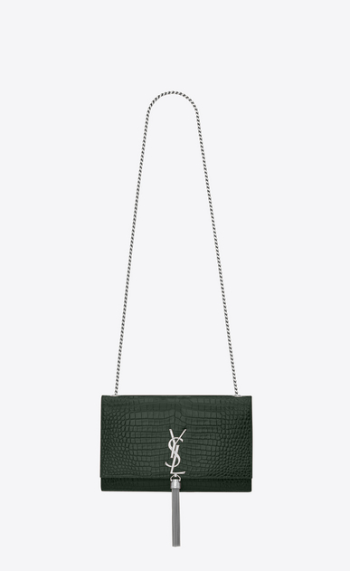 SAINT LAURENT MONOGRAM KATE WITH TASSEL D medium kate tassel chain bag in Dark Green Crocodile Embossed Shiny Leather a_V4