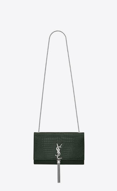 SAINT LAURENT MONOGRAM KATE WITH TASSEL D classic medium kate tassel satchel in Dark Green Crocodile Embossed Shiny Leather v4