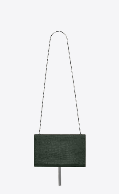 SAINT LAURENT MONOGRAM KATE WITH TASSEL D satchel medium à pompon kate en cuir brillant embossé façon crocodile vert foncé b_V4
