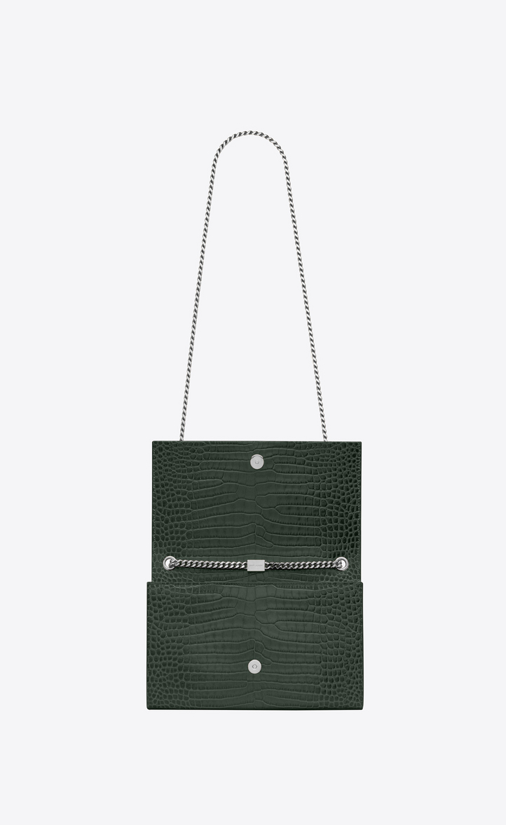 Zoom  medium kate tassel chain bag in Dark Green Crocodile Embossed Shiny  Leather f28bbc843105c