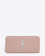 SAINT LAURENT Monogram Matelassé D monogram Zip Around Wallet in Pale Blush Grain de Poudre Textured Matelassé Leather f