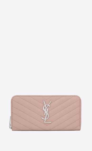 SAINT LAURENT Monogram Matelassé Woman zip around wallet in pale blush textured matelassé leather a_V4