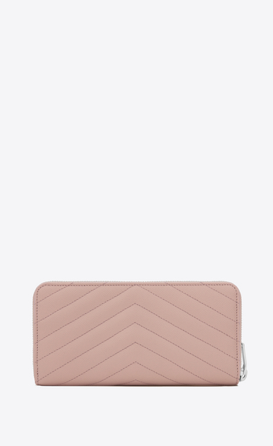 SAINT LAURENT Monogram Matelassé Woman zip around wallet in pale blush textured matelassé leather b_V4