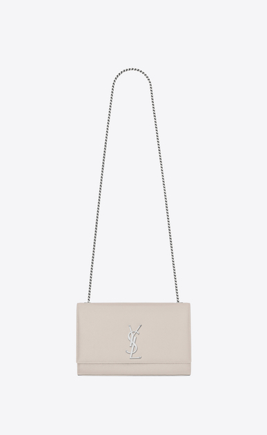SAINT LAURENT MONOGRAM KATE D Classic Medium KATE Satchel color bianco ghiaccio in pelle grain de poudre v4