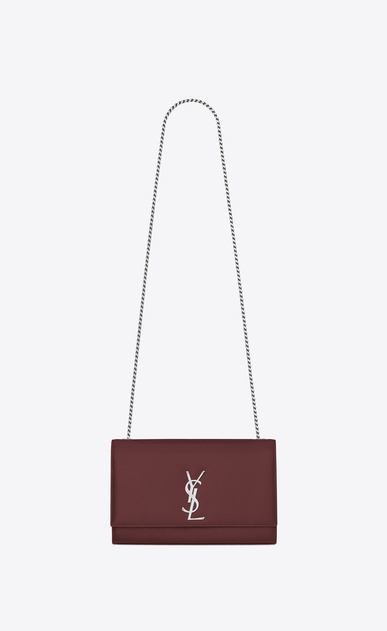 SAINT LAURENT MONOGRAM KATE Woman medium kate chain bag in dark red textured leather a_V4