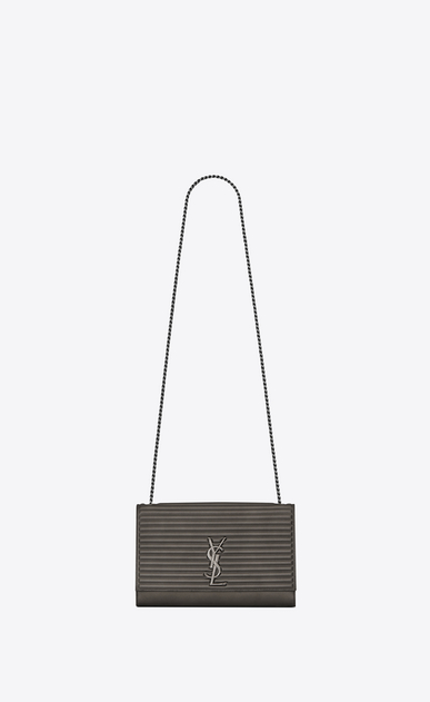 SAINT LAURENT MONOGRAM KATE D satchel medium kate en cuir et cuir côtelé anthracite a_V4