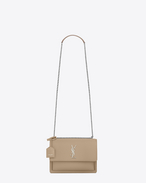 SAINT LAURENT Sunset D Sac medium SUNSET en cuir beige foncé f