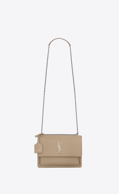 SAINT LAURENT Sunset D Medium SUNSET Bag in Dark Beige Leather a_V4