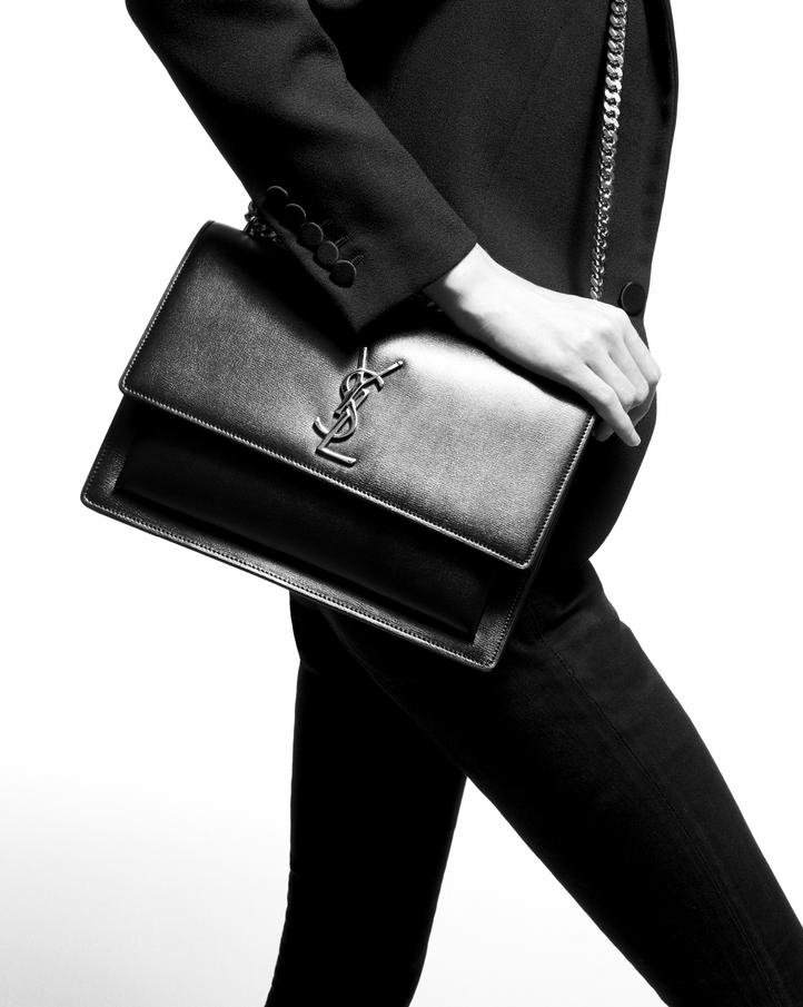 Saint Laurent Medium Sunset Bag In Dark Beige Leather