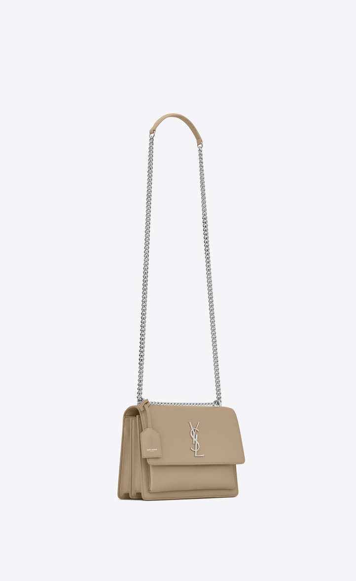 saint laurent medium sunset bag in dark beige leather