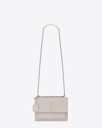 SAINT LAURENT Sunset D Sac SUNSET medium en cuir embossé façon crocodile blanc givré f