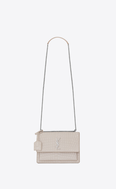SAINT LAURENT Sunset D Medium SUNSET Bag in Icy White Crocodile Embossed Leather a_V4