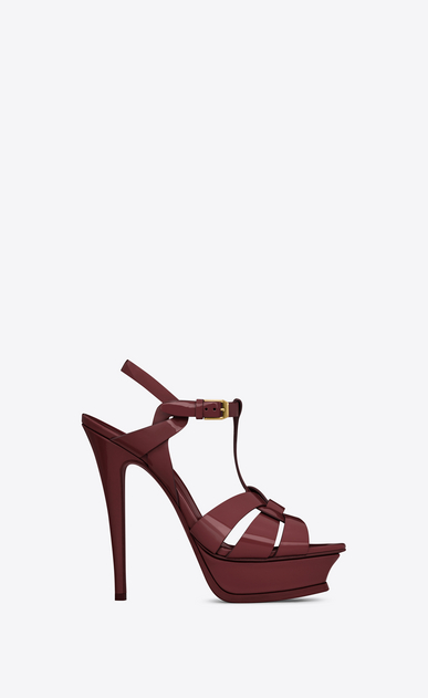 SAINT LAURENT Tribute D Classic TRIBUTE 105 Sandal in Light Burgundy Patent Leather a_V4