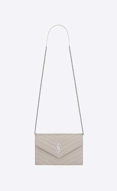 SAINT LAURENT Envelope Chain Wallet D monogram Envelope Chain Wallet in Icy White Grain de Poudre Textured Matelassé Leather a_V4