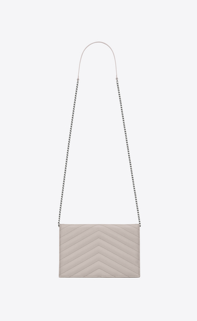 SAINT LAURENT Envelope Chain Wallet D monogram Envelope Chain Wallet in Icy White Grain de Poudre Textured Matelassé Leather b_V4
