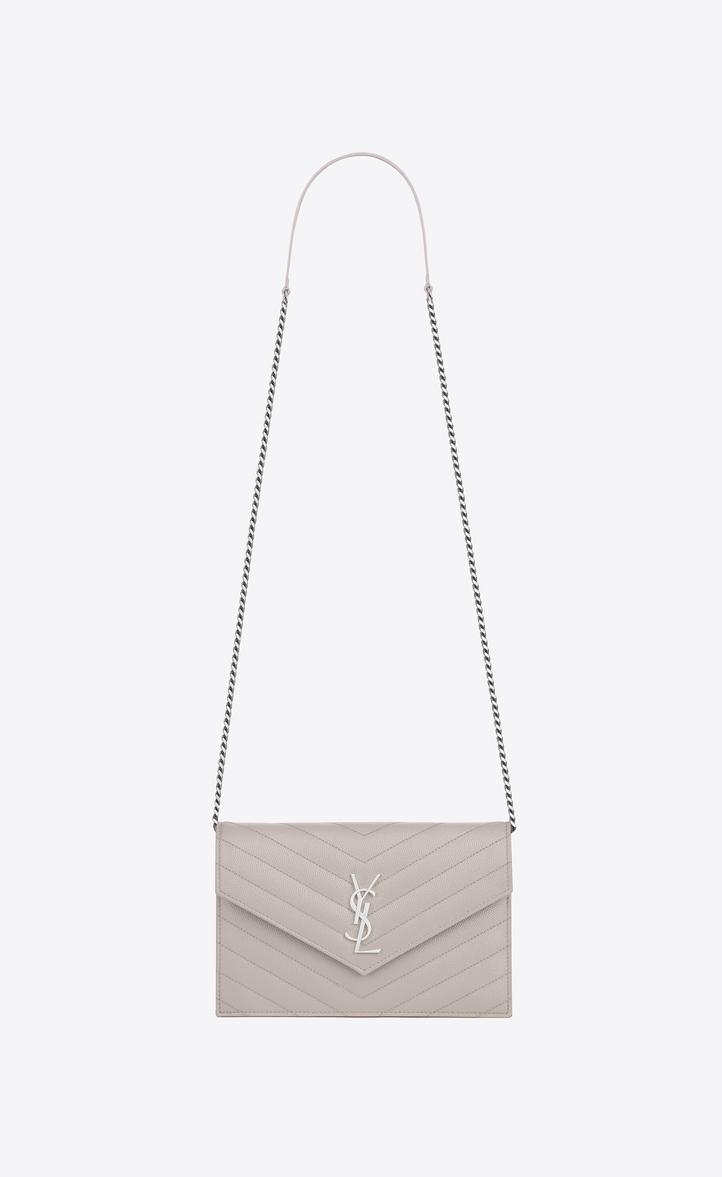 36d956b316b2 Saint Laurent Envelope Chain Wallet In Icy White Textured Matelassé ...