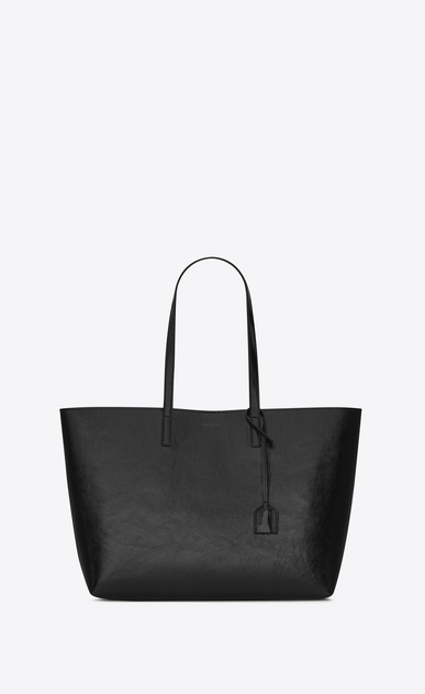 SAINT LAURENT Shopping Saint Laurent E/W Woman SHOPPING SAINT LAURENT Tote Bag in Black Patent Leather a_V4