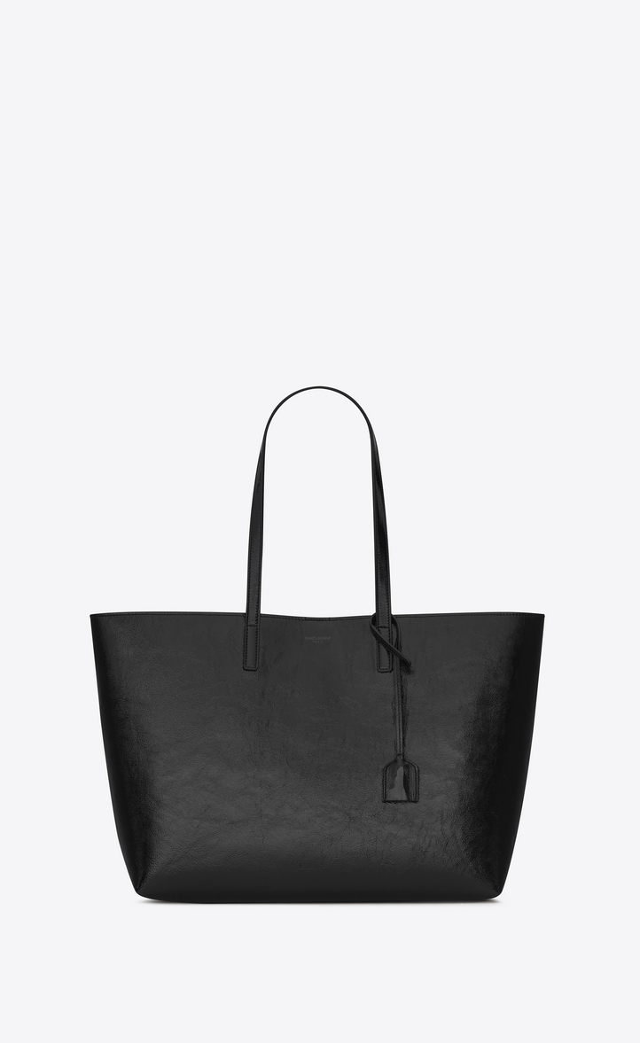 Ping Saint Laurent Tote Bag In Black Patent Leather Front View