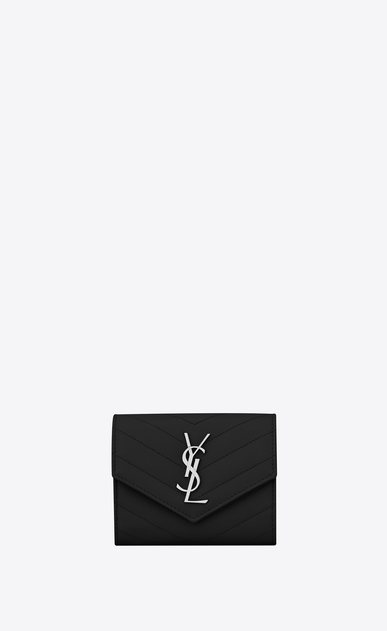 SAINT LAURENT Monogram Matelassé Woman compact wallet in black textured matelassé leather  a_V4