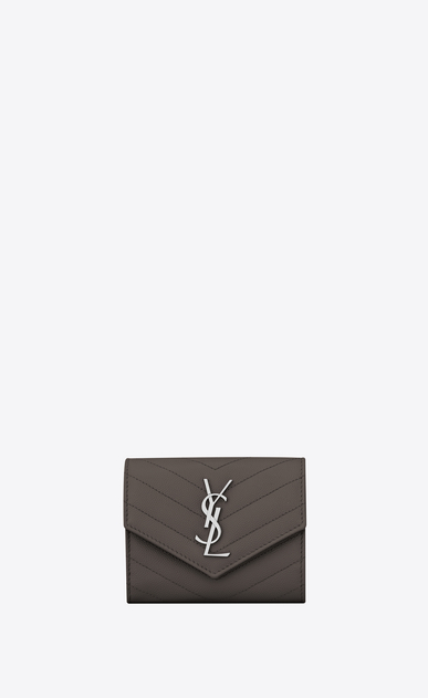 SAINT LAURENT Monogram Matelassé D monogram Compact Tri-fold Wallet in Earth Grey Grain de Poudre Textured Matelassé Leather a_V4
