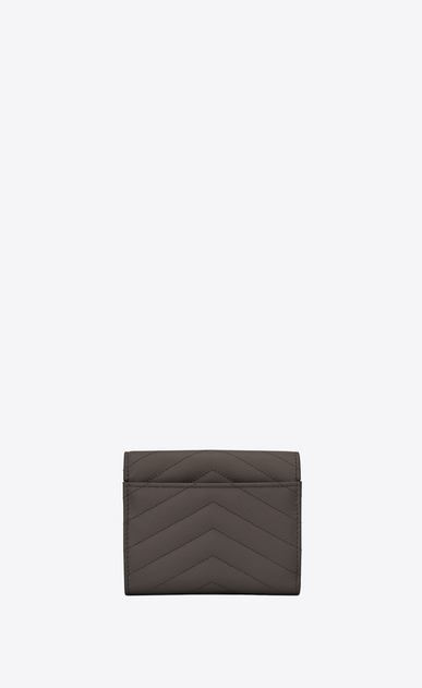 SAINT LAURENT Monogram Matelassé D monogram Compact Tri-fold Wallet in Earth Grey Grain de Poudre Textured Matelassé Leather b_V4
