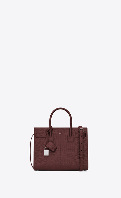 SAINT LAURENT Baby Sac de Jour D classic Baby SAC DE JOUR Bag in Dark Red Crocodile Embossed Shiny Leather a_V4