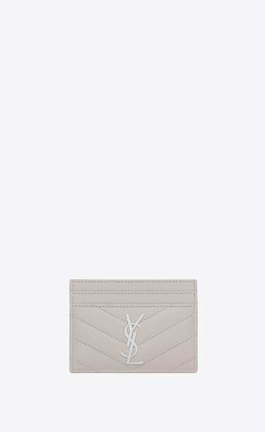 SAINT LAURENT Monogram Matelassé D monogram Credit Card Case in Icy White Grain de Poudre Textured Matelassé Leather a_V4