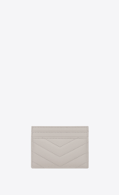 SAINT LAURENT Monogram Matelassé D monogram Credit Card Case in Icy White Grain de Poudre Textured Matelassé Leather b_V4