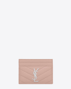 SAINT LAURENT Monogram Matelassé D monogram Credit Card Case in Pale Blush Grain de Poudre Textured Matelassé Leather f