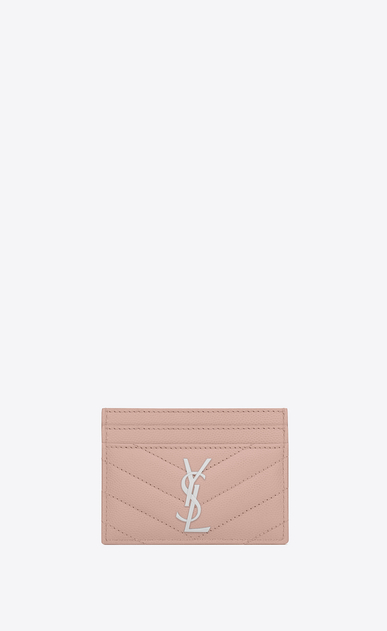 SAINT LAURENT Monogram Matelassé D monogram Credit Card Case in Pale Blush Grain de Poudre Textured Matelassé Leather a_V4