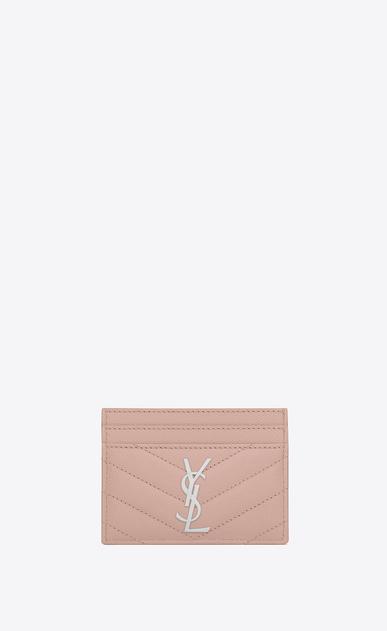 SAINT LAURENT Monogram Matelassé D monogram Credit Card Case in Pale Blush Grain de Poudre Textured Matelassé Leather v4
