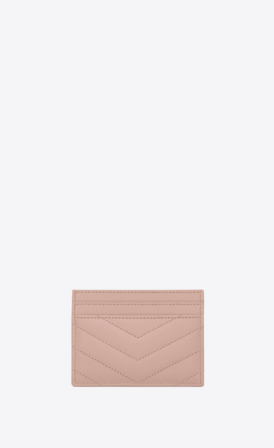 SAINT LAURENT Monogram Matelassé D monogram Credit Card Case in Pale Blush Grain de Poudre Textured Matelassé Leather b_V4