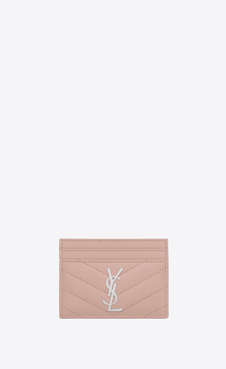 Saint Laurent Credit Card Case In Pale Blush Textured Matelassé ...