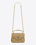 SAINT LAURENT Monogram College D Medium COLLÈGE Bag in Bronze Cracked Metallic Leather f