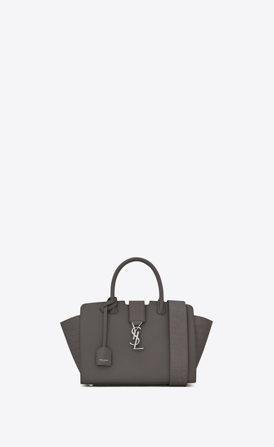 SAINT LAURENT MONOGRAMME TOTE Woman Baby DOWNTOWN Cabas YSL Bag in Grey Leather and Crocodile Embossed Leather a_V4