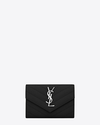 SAINT LAURENT Monogram Matelassé D Small monogram Envelope Wallet in Black Grain de Poudre Textured Matelassé Leather f