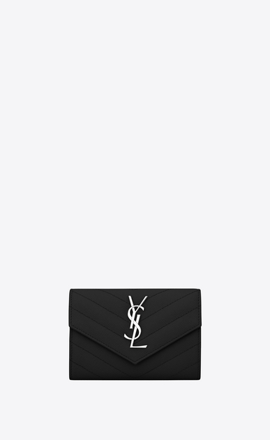 SAINT LAURENT Monogram Matelassé Woman small envelope wallet in black textured matelassé leather a_V4