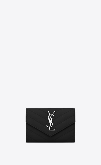 SAINT LAURENT Monogram Matelassé D Small monogram Envelope Wallet in Black Grain de Poudre Textured Matelassé Leather v4