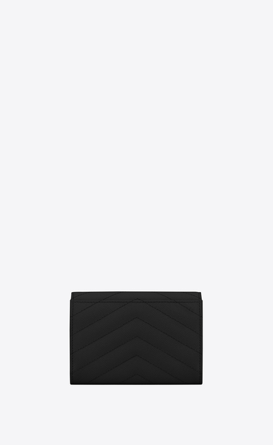 SAINT LAURENT Monogram Matelassé Woman Small monogram Envelope Wallet in Black Grain de Poudre Textured Matelassé Leather b_V4