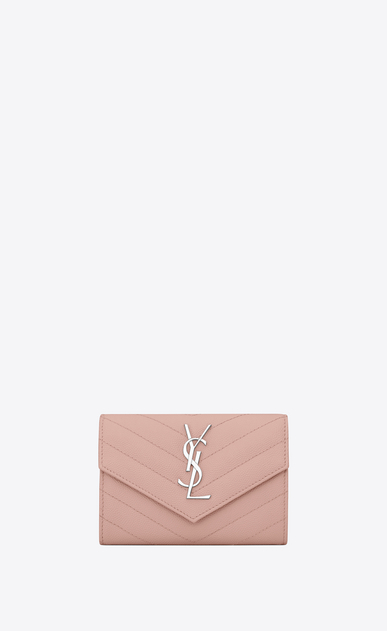SAINT LAURENT Monogram Matelassé Woman Small monogram Envelope Wallet in Pale Blush Grain de Poudre Textured Matelassé Leather a_V4