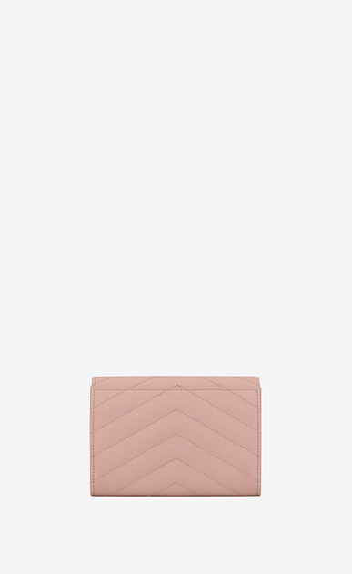 SAINT LAURENT Monogram Matelassé Woman Small monogram Envelope Wallet in Pale Blush Grain de Poudre Textured Matelassé Leather b_V4