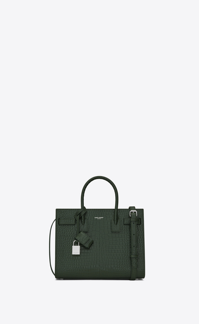 SAINT LAURENT Baby Sac de Jour D classic Baby SAC DE JOUR Bag in Dark Green Crocodile Embossed Shiny Leather a_V4