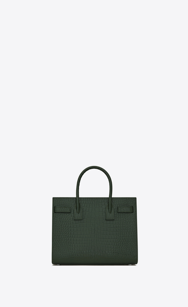 SAINT LAURENT Baby Sac de Jour D classic Baby SAC DE JOUR Bag in Dark Green Crocodile Embossed Shiny Leather b_V4