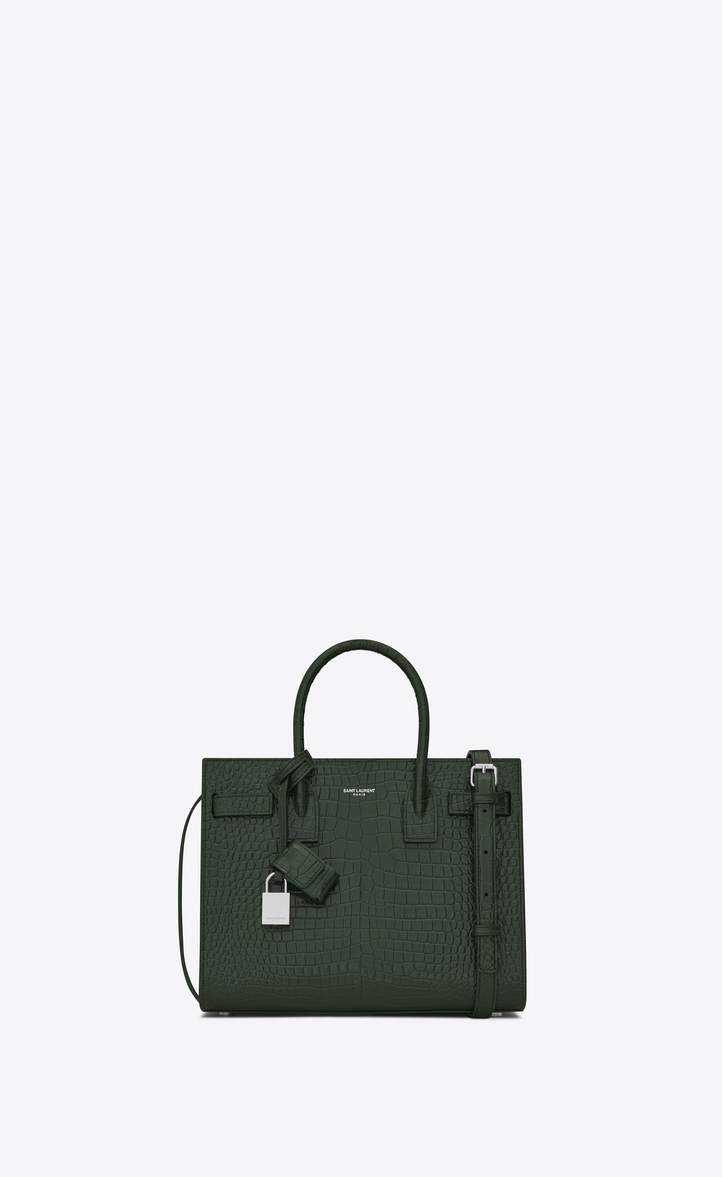 Baby Sac De Jour Bag In Dark Green Crocodile Embossed Shiny Leather, Front  View