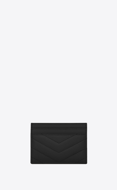 SAINT LAURENT Monogram Matelassé Woman monogram Credit Card Case in Black Grain de Poudre Textured Matelassé Leather b_V4