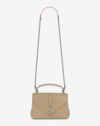 SAINT LAURENT Monogram College D Medium COLLÈGE Bag in Dark Beige Matelassé Leather f
