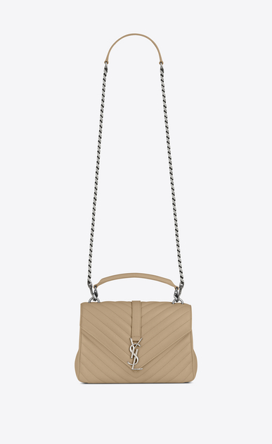 SAINT LAURENT Monogram College D classic medium collège bag in Dark Beige Matelassé Leather a_V4