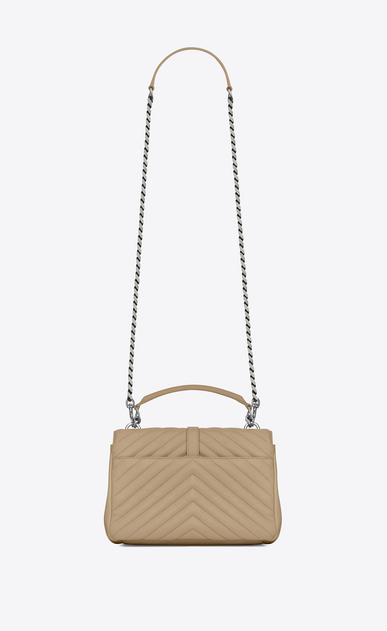 SAINT LAURENT Monogram College D classic medium collège bag in Dark Beige Matelassé Leather b_V4